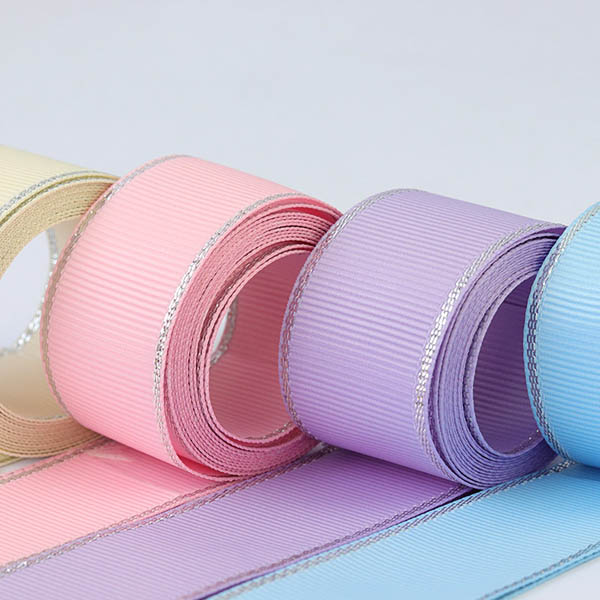 Silver Metallic Edge Grosgrain Ribbon