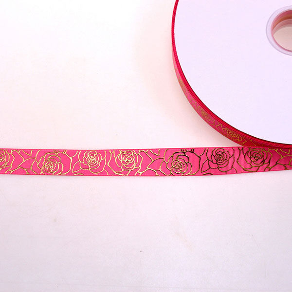 Gold Foil Rose Grosgrain Ribbon