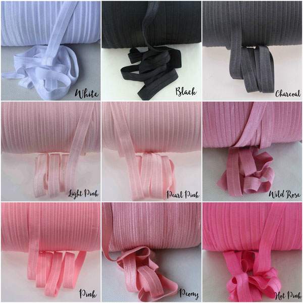 Stock Color Fold over Elastic Ribbon